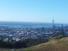 Harbour Bridge to Sky Tower from Mt Eden