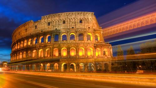 rome sunrise lighttrails colisseum