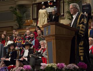 Chancellor giving speech