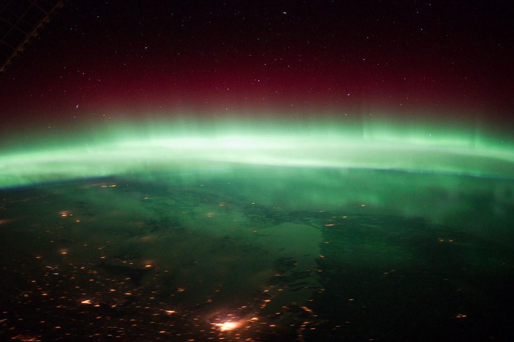 Aurora Borealis Over Canada (NASA, International Space Station, 01/25/12)
