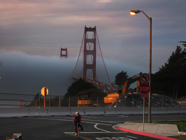 Golden Gate Bridge POV Lincoln St; the Presidio, San Francisco (2012)