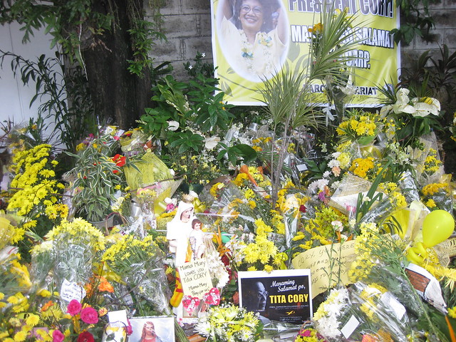 Cory Aquino's flowers at Times Street