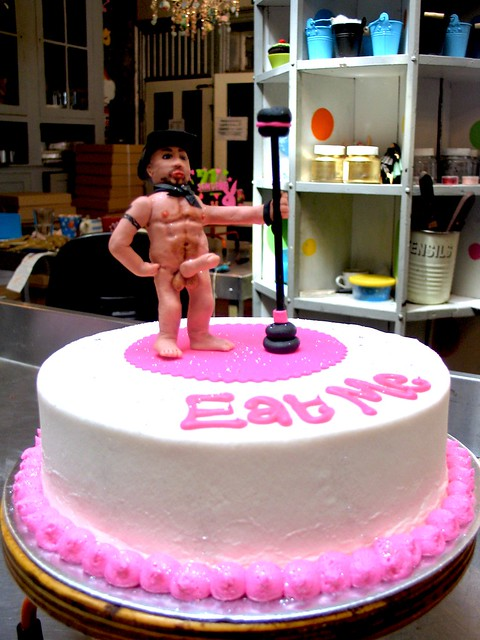 Wicked Chocolate Bachelorette cake with 3D X-Rated stripper