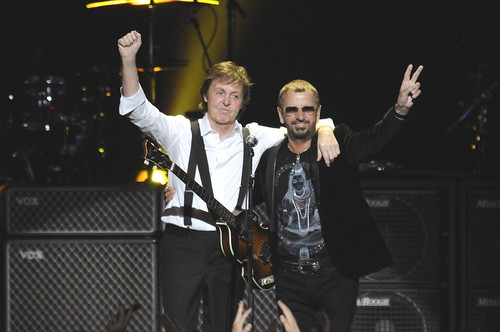 "<p>Paul McCartney embraces Ringo Starr after performing together on the stage of Radio City Music hall for the April 2009 ""Change Begins Within"" benefit concert.</p>"