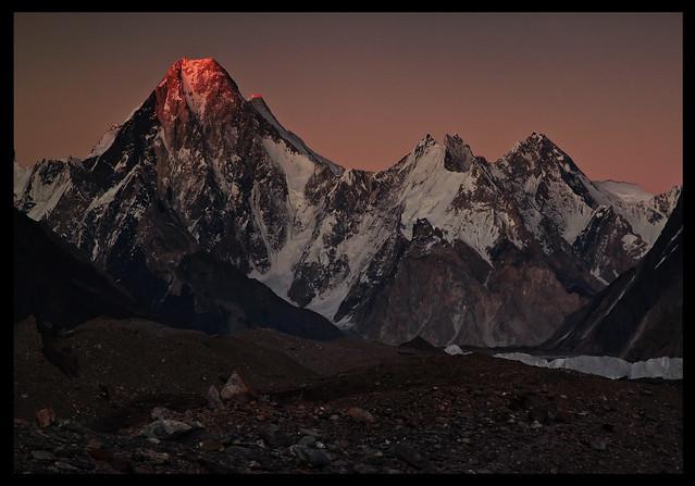 dusk on the gasherbrum massif
