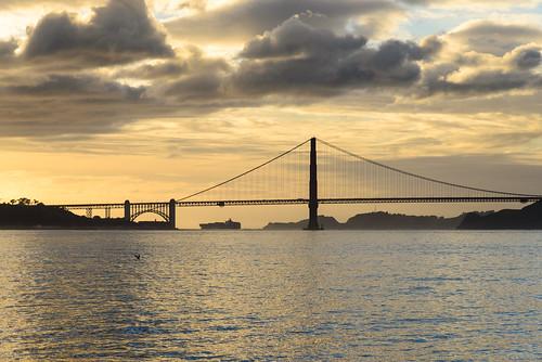 ocean sanfrancisco california bridge sunset sky usa water clouds meer ship sonnenuntergang unitedstates unitedstatesofamerica himmel wolken goldengatebridge goldengate brücke
