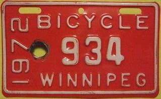 WINNIPEG MANITOBA 1972 ---BICYCLE LICENSE PLATE