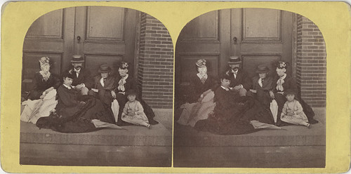 A Woman with a Scratched Out Face - A Group Stereo View