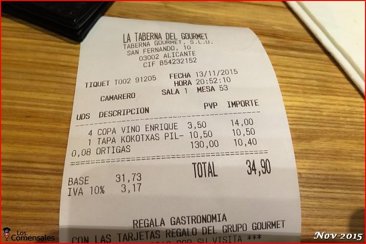 Ticket - La taberna del gourmet