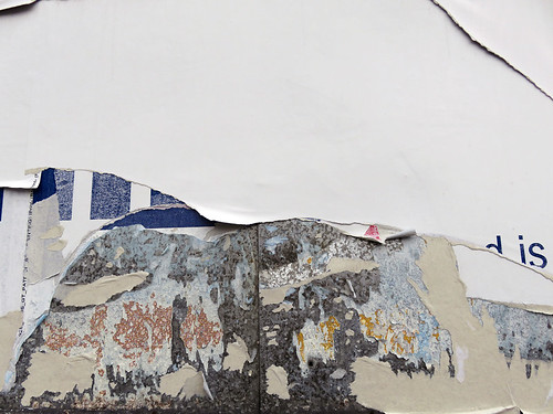 Torn poster abstract in Belfast, Ireland