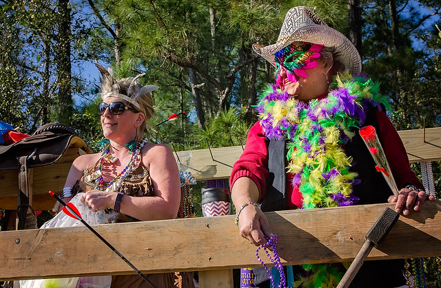 Fowl River Trump Deplorables participate in the People's Parade during Mardi Gras in Dauphin Island, Alabama