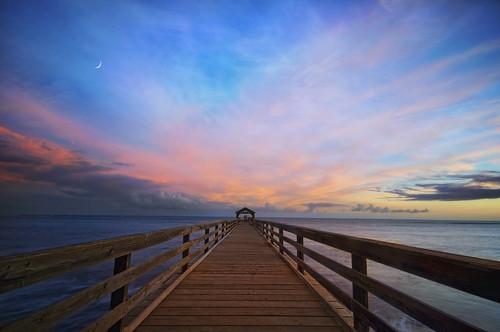 ocean wood sunset sky moon seascape beach water colors clouds hawaii pier pacific kauai