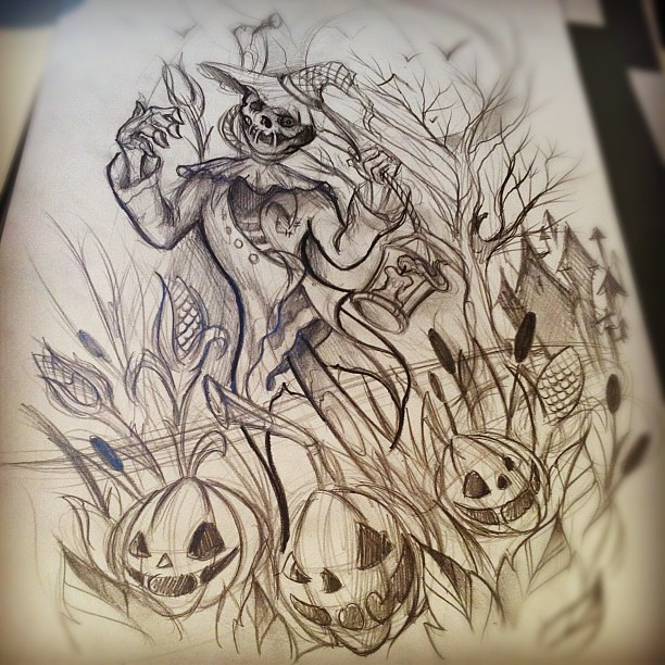 Scarecrow Tattoo Sketch Tattoo Scarecrow Ink Pumpkin Flickr