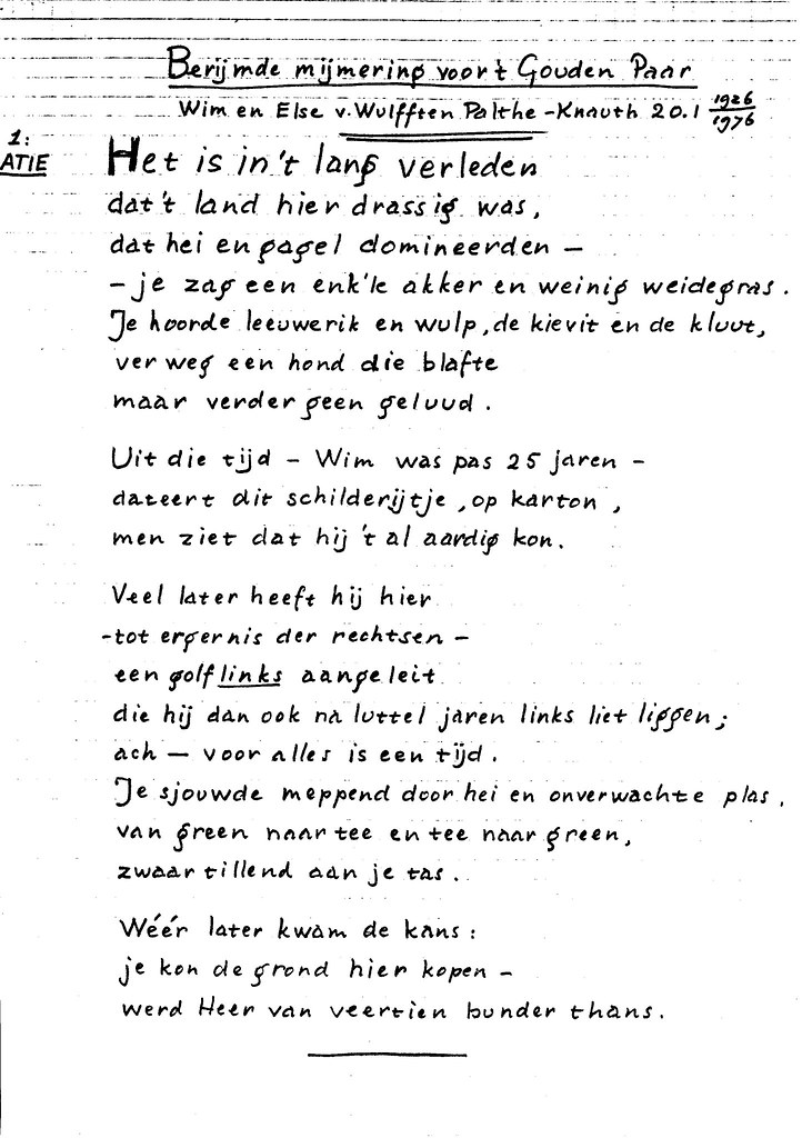 Iets Nieuws 19760120 A8060-08.2 Gedicht tgv Gouden bruiloft Opa Wim & … | Flickr #CK41