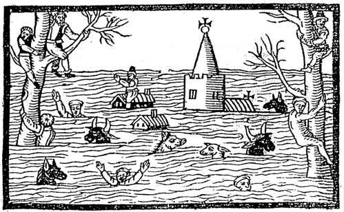 Woodcut of the 1607 flood in the Bristol Channel and Severn Estuary. | by ProfSimonHaslett