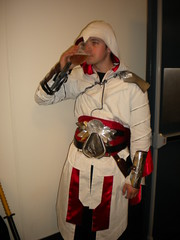 Every good Assassin needs a break and a cold drink.  Ezio from Assassin's Creed Brotherhood