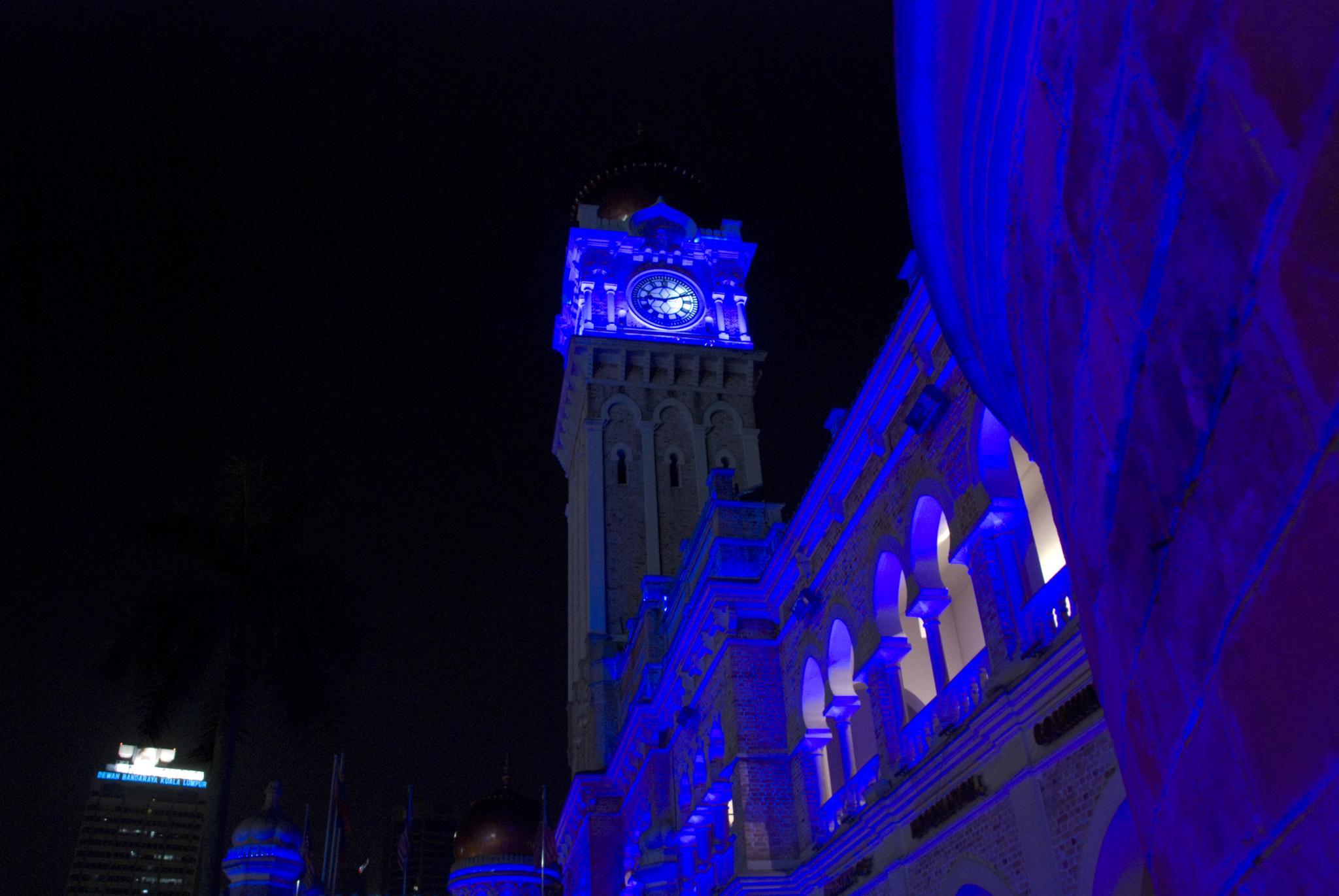Beautiful lighting of buildings in Kuala Lumpur.