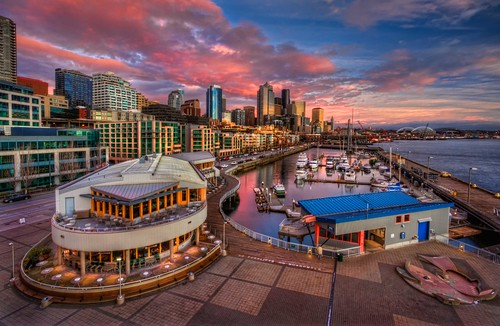 seattle sunset color clouds marina wintersunset belltown pacificnorthwest washingtonstate hdr elliotbay downtownseattle pier66 seattlewaterfront anthonysrestaurant canonrebelxsi seattlehdr fresnatic photoshopcs5