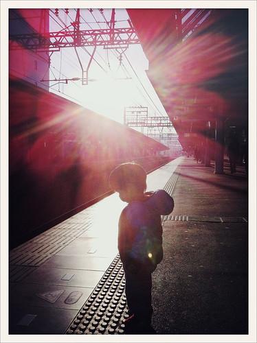 life city winter sky urban beautiful sunshine station japan train photography japanese kid warm glow child bright illumination 日本 february nara sunray 2012 prometheus iphone 奈良 nonhdr faizallalani iphoneography