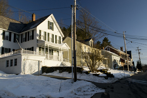street new winter light sunset england urban house snow building architecture rural america town wire vermont afternoon village small victorian lot center tourist pole commercial elite wealthy expensive woodstock quaint picturesque trap vt photogenic upscale
