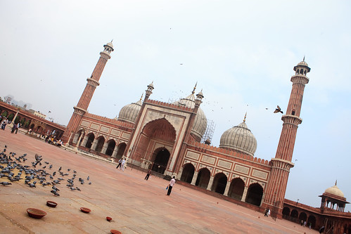 india color horizontal architecture exterior islam landmark mosque historic photograph muslims newdelhi islamic jamamasjid