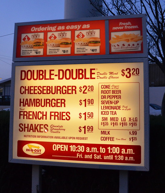 IN N OUT BURGER RESTAURANT DRIVE THRU MENU with prices   Flickr