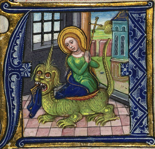 Illuminated Manuscript, Book of Hours, St. Margaret, Walters Manuscript W.168, fol. 222r