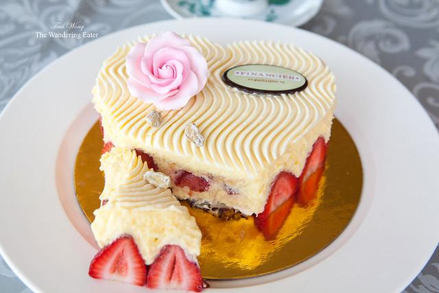 Sliced Mother's Day Fraisier cake