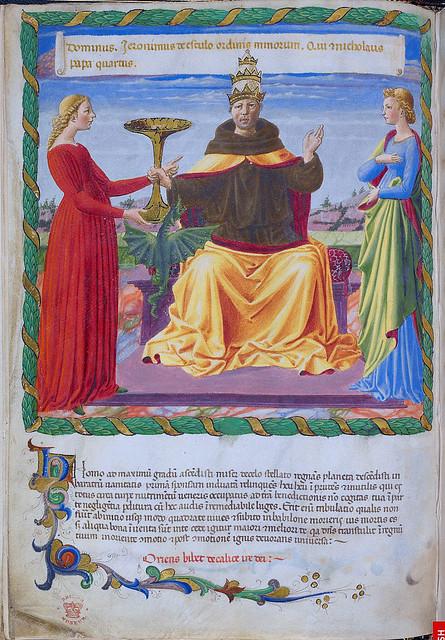 London BL - Harley 1340  f. 2v  Nicholas IV of Ascoli