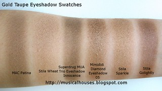 gold taupe eyeshadow swatches | by musicalhouses