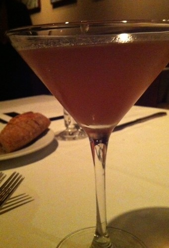 "last night. John Bentley's ""poached pear"" cocktail Pear vodka lychee balsamic reduc 