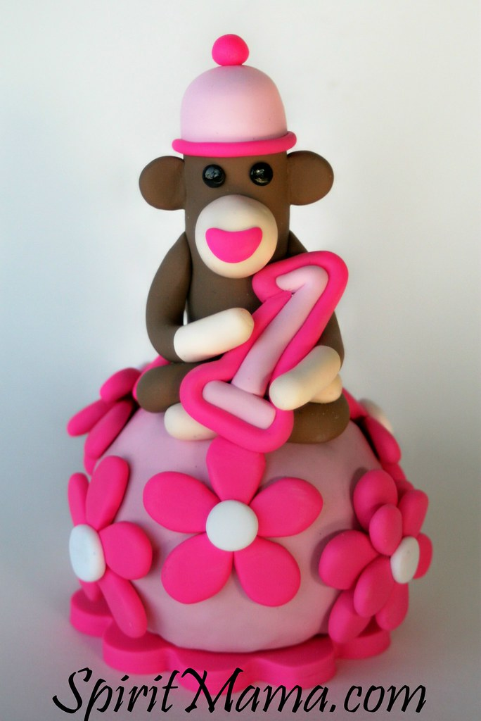 Cool Pink Flowers Sock Monkey Birthday Cake Topper Waxela Wa Shay La Funny Birthday Cards Online Barepcheapnameinfo