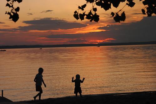 sunset lake playing beach kids play