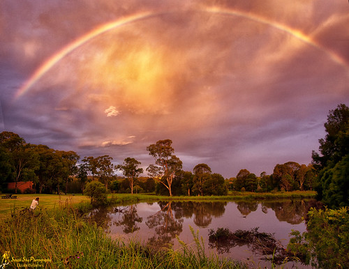 trees sky storm water creek evening rainbow australia queensland toowoomba