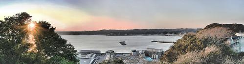 sunset sky panorama cloud sun japan spring chiba 日本 太陽 海 空 hdr 春 千葉県 hugin 千葉 katsuura パノラマ 日没 曇 きれい 勝浦 ちば かつうら