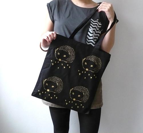 The Hedgehog tote canvas bag   by Carolina Grönholm - Illustration & Design