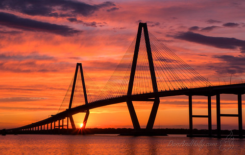 travel pink sunset red sc us unitedstates southcarolina charleston ravenelbridge danandhollycom danandhollythompson