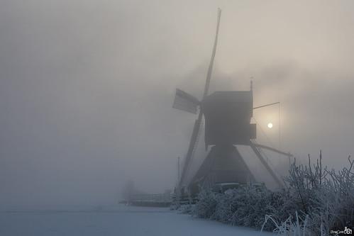 mist snow mill ice reed netherlands silhouette fog sunrise smoke sneeuw nederland freezing rook riet kinderdijk alblasserwaard molen silhouet ijs zuidholland zonsopkomst vriezen poldermolen wipmolen deblokker blokweersemolen bracom bramvanbroekhoven