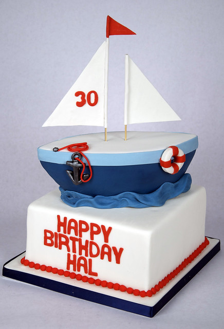 BC4130 - sailboat 30th birthday cake toronto