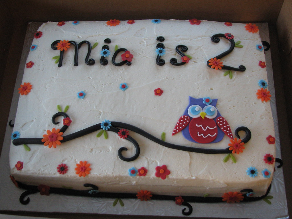 Excellent Owl Birthday Sheet Cake Marta Ebra Flickr Funny Birthday Cards Online Alyptdamsfinfo