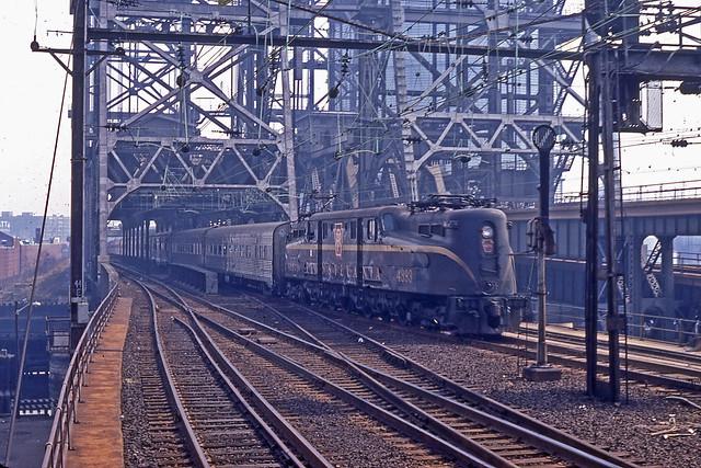 PRR GG1 No. 4893 pulls passenger train at Newark NJ 1967