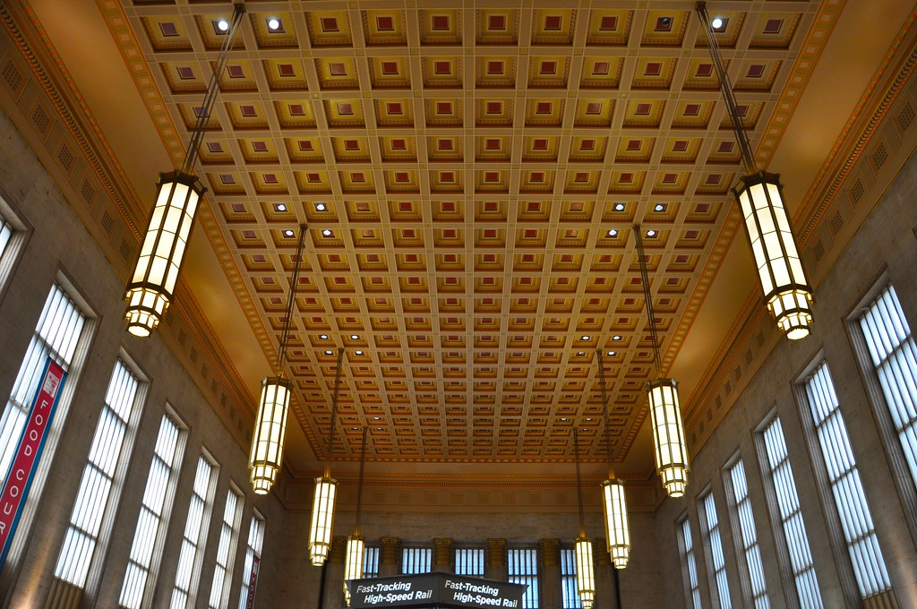 Coffered Ceiling And Art Deco Lights At 30th Street Statio