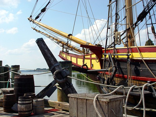 The Maryland Dove at dock, Historic St. Mary's City