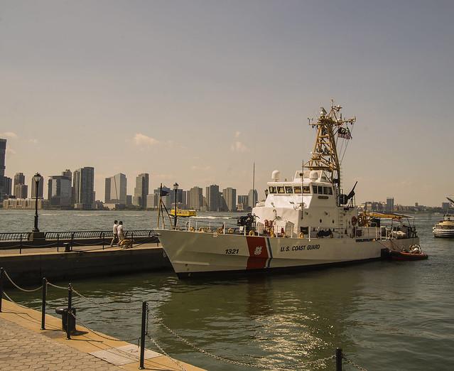Coast Guard Cutter In Dock At North Cove Battery Park City Manhattan