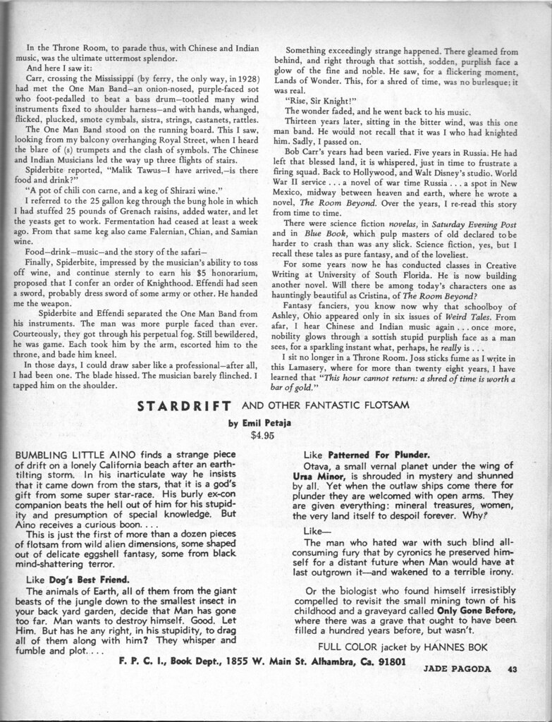 ... 008 Witchcraft and Sorcery (Coven 13) May 1971 Page 43 E. Hoffmann Price's