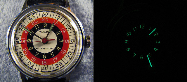 Old Timex Glow-In-the-Dark Military-Time Watch