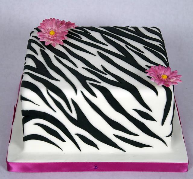 D7007 - designer zebra print cake toronto
