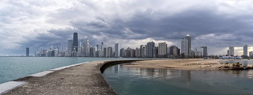 street city sunset chicago storm reflection beach clouds buildings evening pier downtown cityscape dusk pano stormy panoramic lakemichigan april stormyweather 2016 illinios northshorepark canon7dmarkii kevinpovenz