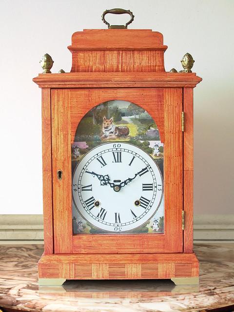 Georgian Bracket Clock With Painted Dial