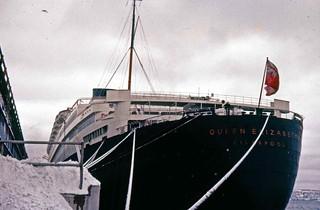 Stern of Cunard QE at Halifax Pier 21 1957